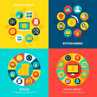 Insieme di concetti di bitcoin. illustrazione di vettore dei cerchi di infographics finanziario con le icone piane.