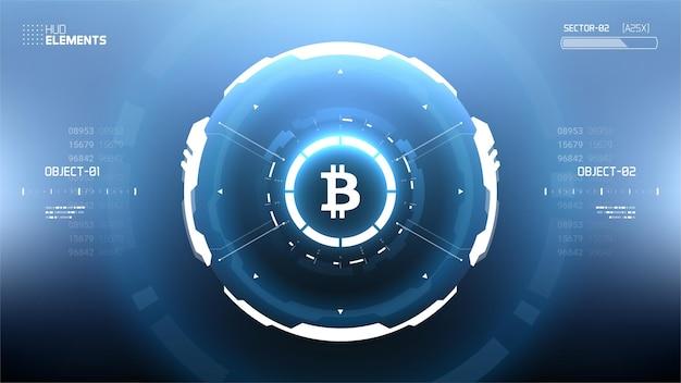Illustrazione futuristica di criptovaluta bitcoin