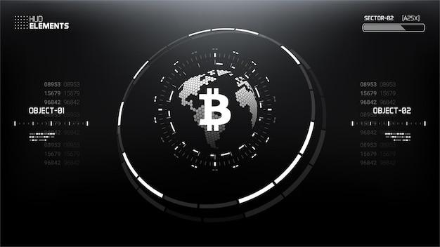 Bitcoin cryptocurrency illustrazione vettoriale futuristico per sfondo, hud, interfaccia utente grafica, banner, infografica aziendale e finanziaria e altro ancora. sistema blockchain di denaro digitale in tutto il mondo