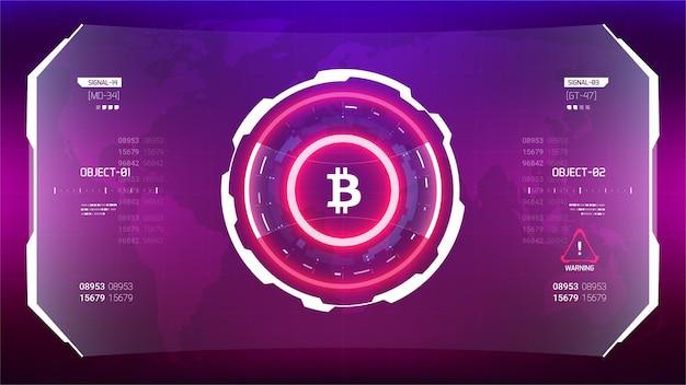 Bitcoin cryptocurrency illustrazione vettoriale futuristico. tecnologia del denaro digitale in tutto il mondo