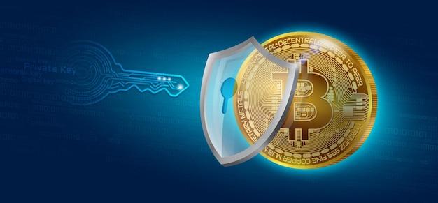 Blocco a chiave privata della moneta di criptovaluta bitcoin