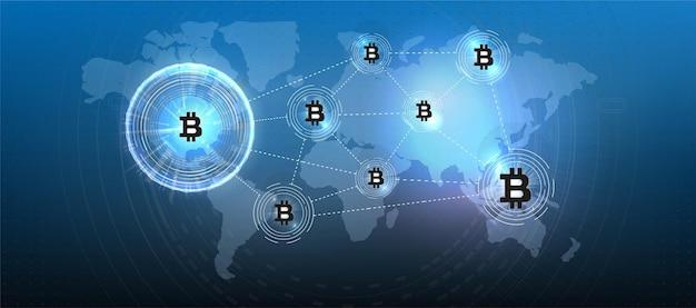 Simbolo di moneta di criptovaluta bitcoin. valuta crittografica, elettronica virtuale, denaro internet. simbolo di pagamento. fondo concettuale di bitcoin con luci elettriche d'ardore blu nello stile hud.