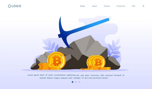 Illustrazione del sito web della pagina di destinazione di criptovaluta bitcoin