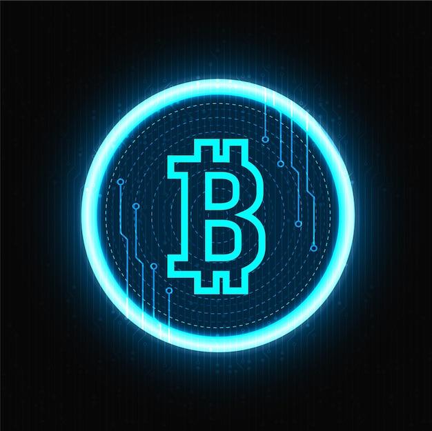 Simbolo al neon di bitcoin cryptocurrency sul nero