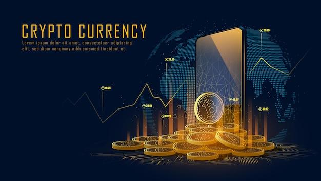 La criptovaluta bitcoin con una pila di monete esce dallo smartphone