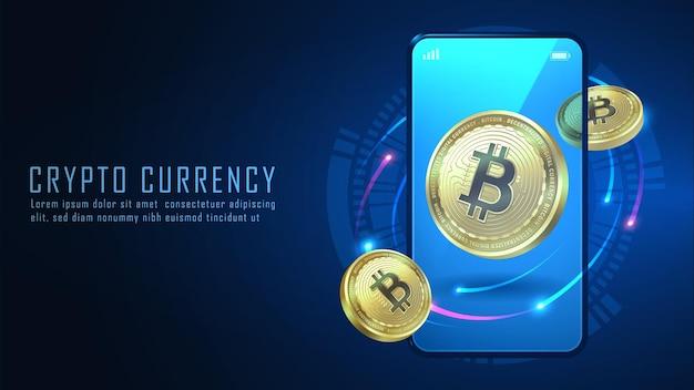 Criptovaluta bitcoin con smartphone, illustratore vettoriale