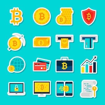 Adesivi valuta bitcoin. stile piano dell'illustrazione di vettore. raccolta di simboli finanziari.