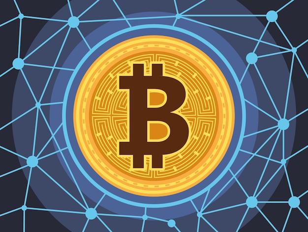 La tecnologia dei soldi cyber di bitcoin nel disegno dell'illustrazione di vettore delle luci del circuito