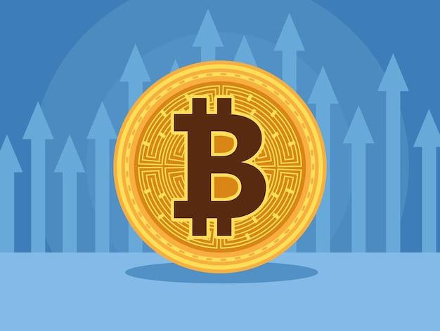Tecnologia di denaro cyber bitcoin con frecce su disegno di illustrazione vettoriale di statistiche