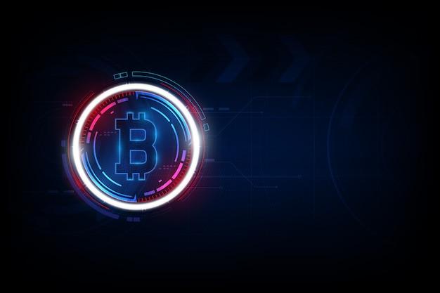 Valuta digitale bitcoin, denaro digitale futuristico, concetto di rete mondiale della tecnologia. Vettore Premium