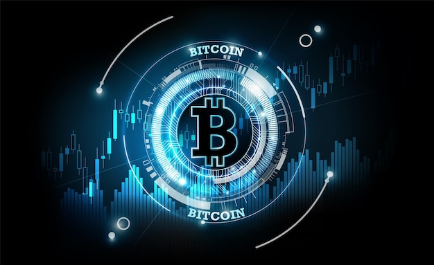 Bitcoin valuta digitale futuristica tecnologia denaro digitale in tutto il mondo concetto di rete
