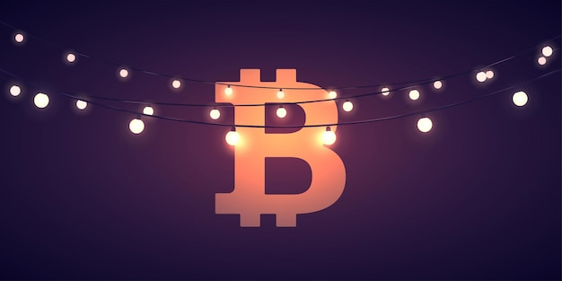 Segno di valuta digitale bitcoin con ligths