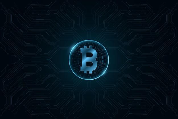 Valuta digitale bitcoin con pattern di cpu del computer.