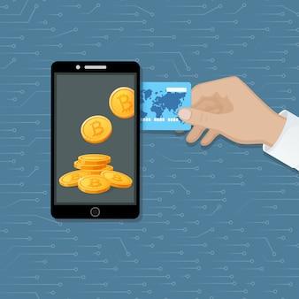 Concetto di scambio di bitcoin. capitalizzazioni di criptovaluta. acquista monete elettroniche virtuali digitali
