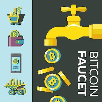 Rubinetto bitcoin. la criptovaluta è la valuta del futuro. illustrazione vettoriale concettuale. icone minerarie di bitcoin.