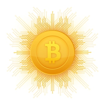 Icona piana di bitcoin. moneta di bit di valuta cripto. emblema di criptovaluta. illustrazione vettoriale.