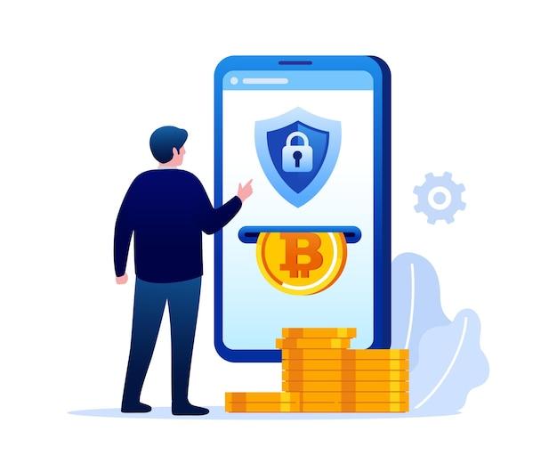Banner di illustrazione vettoriale piatto investimento bitcoin flat