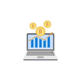 Modello di clipart dell'illustrazione dell'icona di investimento di bitcoin