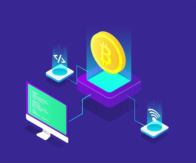 Illustrazione isometrica di bitcoin