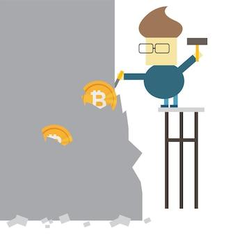 Concetto di estrazione di bitcoin. uomo d'affari che scava moneta dalla roccia. disegno dell'icona di vettore piatto personaggio dei cartoni animati illustrazione. affari, criptovaluta, concetto di bitcoin