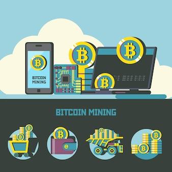 Estrazione di bitcoin. illustrazione concettuale. icone minerarie di bitcoin. clipart vettoriali.