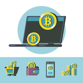 Estrazione di bitcoin. la criptovaluta è la valuta del futuro. bitcoin per computer portatili. icone minerarie di bitcoin. illustrazione vettoriale concettuale.
