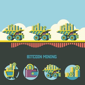 Estrazione di bitcoin. criptovaluta. concetto di vettore. l'autocarro con cassone ribaltabile trasporta bitcoin. set di emblemi di vettore. carrello con bitcoin, portafoglio con bitcoin, pila di monete.
