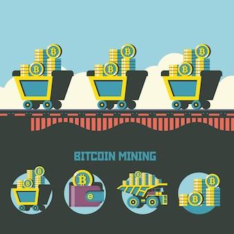 Estrazione di bitcoin. criptovaluta. concetto di vettore. carrelli con bitcoin. set di emblemi di vettore. carrello con bitcoin, portafoglio con bitcoin, pila di monete.