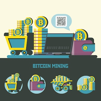 Estrazione di bitcoin. criptovaluta. concetto di vettore. camion con bitcoin. set di emblemi di vettore. carrello con bitcoin, laptop, portafoglio con bitcoin, una pila di monete.