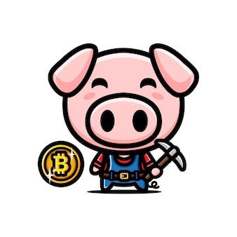 Disegno di maiale minerario bitcoin