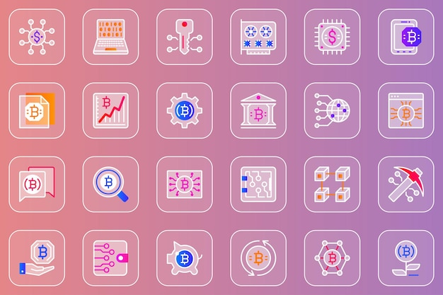 Set di icone glassmorphic web mining bitcoin