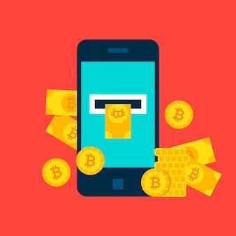 Concetto mobile di bitcoin. illustrazione vettoriale di tecnologia finanziaria.