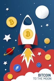 Bitcoin alla luna. illustrazione vettoriale