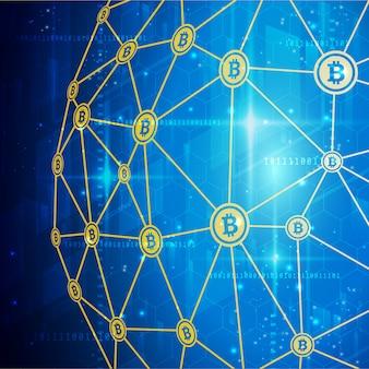 Sfondo banner tecnologia di rete bitcoin