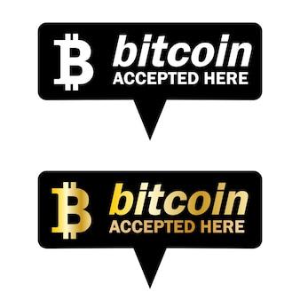Concetto di pagamento bitcoin. criptovaluta mobile. transazione o donazione bitcoin. criptovaluta accettata qui. vettore