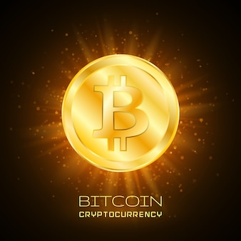 Bitcoin. bitcoin fisico. valuta digitale. criptovaluta. moneta d'oro con il simbolo bitcoin.