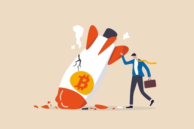Crollo del prezzo di bitcoin, concetto di prezzo di volatilità della valuta crittografica