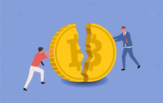 Bitcoin scende di prezzo. bitcoin in bancarotta. due uomini d'affari stanno cercando di impedire che una grossa moneta bitcoin si schianti e cada. illustrazione piatta.