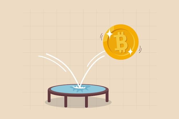 Rimbalzo del prezzo del bitcoin, criptovaluta rimbalza per salire dopo essere caduto concetto, bitcoin dorato rimbalza sul trampolino salendo sul grafico dei prezzi.