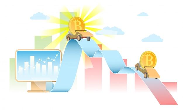Illustrazione realistica di vettore di concetto di tasso di bitcoin