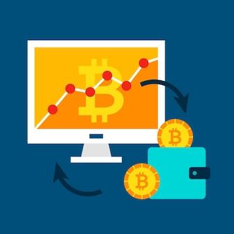 Concetto di tassi di bitcoin. illustrazione vettoriale con computer e tecnologia finanziaria.