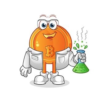 Illustrazione di scienziato bitcoin
