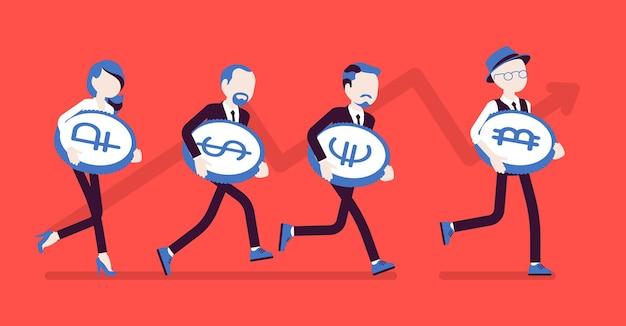 Sviluppo di successo di bitcoin e altro. persone che corrono con monete diverse, valuta digitale, miglior investimento ad alta crescita. economia, concetto di finanza aziendale. illustrazione vettoriale, personaggi senza volto