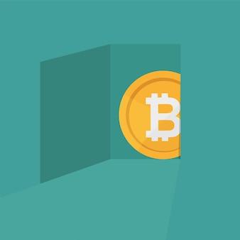 Un simbolo bitcoin che esce dal concetto di valuta criptovaluta - design piatto