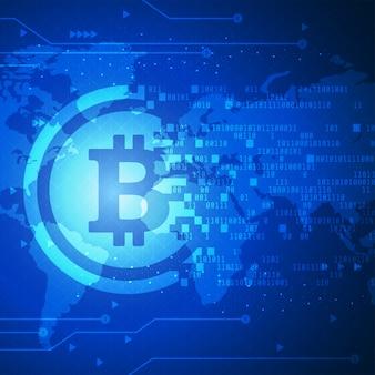 Banner di tecnologia bitcoin con sfondo di mappa del mondo