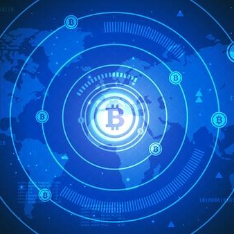 Banner tecnologia bitcoin con mappa del mondo