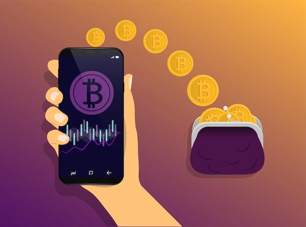 Portafoglio bitcoin. il concetto di invio del portafoglio online di bitcoin. operazioni bitcoin.