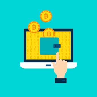 Concetto di portafoglio bitcoin. illustrazione vettoriale con laptop e tecnologia finanziaria.