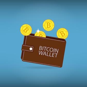 Portafoglio bitcoin con monete. segno di conto di criptovaluta. illustrazione vettoriale.