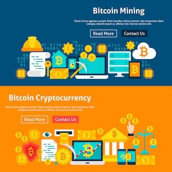Banner del sito web bitcoin. illustrazione vettoriale per intestazione web. design piatto di criptovaluta.